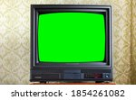 Antique Tv With Green Screen On ...