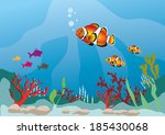 marine life with colorful fish | Shutterstock . vector #185430068