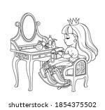 cute princess sitting behind...   Shutterstock .eps vector #1854375502