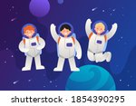 astronaut team in outer space.... | Shutterstock .eps vector #1854390295