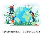 planet ecology concept. cartoon ... | Shutterstock .eps vector #1854432715
