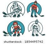 hockey retro emblem for amateur ... | Shutterstock . vector #1854495742