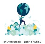 man saves the planet from... | Shutterstock .eps vector #1854576562