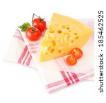 piece of cheese and tomatoes on ... | Shutterstock . vector #185462525