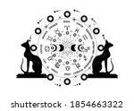 wheel of the zodiac signs... | Shutterstock .eps vector #1854663322