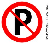 No Parking Sign Icon On White...