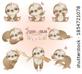 cute doodle sloth poses with... | Shutterstock .eps vector #1854721078