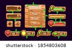 set of wooden nature game ui...