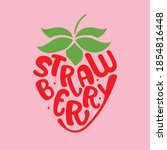 strawberry font style  fun...   Shutterstock .eps vector #1854816448