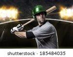 baseball player on a green... | Shutterstock . vector #185484035