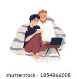 gay couple covered with plaid... | Shutterstock .eps vector #1854866008
