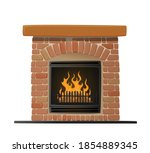 burning brick fireplace with... | Shutterstock .eps vector #1854889345