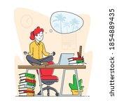 calm employee break in messy... | Shutterstock .eps vector #1854889435