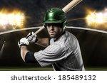 baseball player on a green... | Shutterstock . vector #185489132