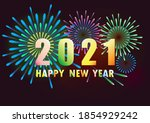 happy new year 2021 with a...   Shutterstock .eps vector #1854929242