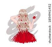 cute stylish blonde hair girl... | Shutterstock .eps vector #1854941452