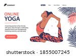 woman practicing yoga. online...