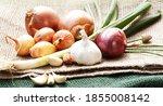 onions  leek and garlic on jute ...