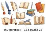old book. vector set of old...   Shutterstock .eps vector #1855036528