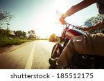biker riding motorcycle  on an... | Shutterstock . vector #185512175