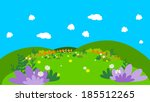 cartoon background with flowers   Shutterstock .eps vector #185512265