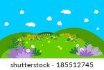 cartoon background with flowers   Shutterstock . vector #185512745