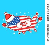 Cute Happy Funny Usa Map And...