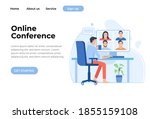 video conference landing page.... | Shutterstock .eps vector #1855159108