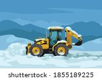 yellow color tractor clearing...   Shutterstock .eps vector #1855189225