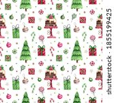 bright seamless pattern with... | Shutterstock . vector #1855199425