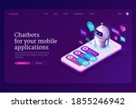 mobile chatbot app isometric...
