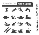meat icons gray series | Shutterstock .eps vector #185527562