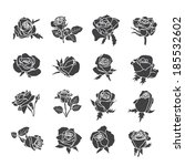 set of rose symbols  decorative ... | Shutterstock .eps vector #185532602