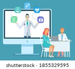 doctor holding web icons at... | Shutterstock .eps vector #1855329595