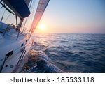 Sail Boat In An Open Sea At...
