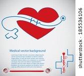 abstract medical cardiology ekg ... | Shutterstock .eps vector #185536106