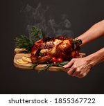 Woman Hands Hold Plate With...