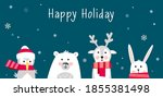 cute winter animals with scarfs.... | Shutterstock .eps vector #1855381498