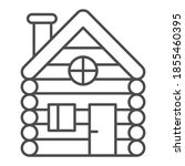 old wooden house thin line icon ...   Shutterstock .eps vector #1855460395