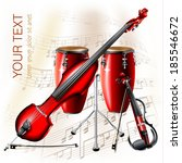 Musical background series. Electric violin, electric contrabass and traditional Conga drum, isolated on white background with musical notes . Vector illustration