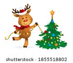 rudolph reindeer decorating the ...   Shutterstock .eps vector #1855518802