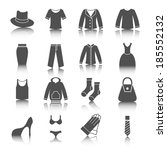 clothing icons set black with...
