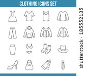 clothing icons outline set...