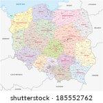 poland administrative map   Shutterstock .eps vector #185552762