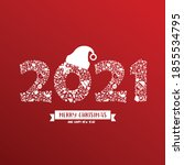 2021 calligraphy with christmas ... | Shutterstock .eps vector #1855534795