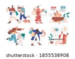 online and offline shopping by... | Shutterstock .eps vector #1855538908