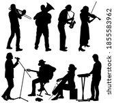 silhouettes street musicians... | Shutterstock . vector #1855583962