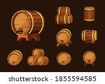 wine wooden barrels set. oak... | Shutterstock .eps vector #1855594585
