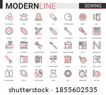 sewing tailoring thin red black ... | Shutterstock .eps vector #1855602535