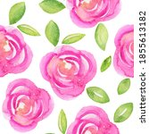 watercolor pink roses seamless...   Shutterstock . vector #1855613182